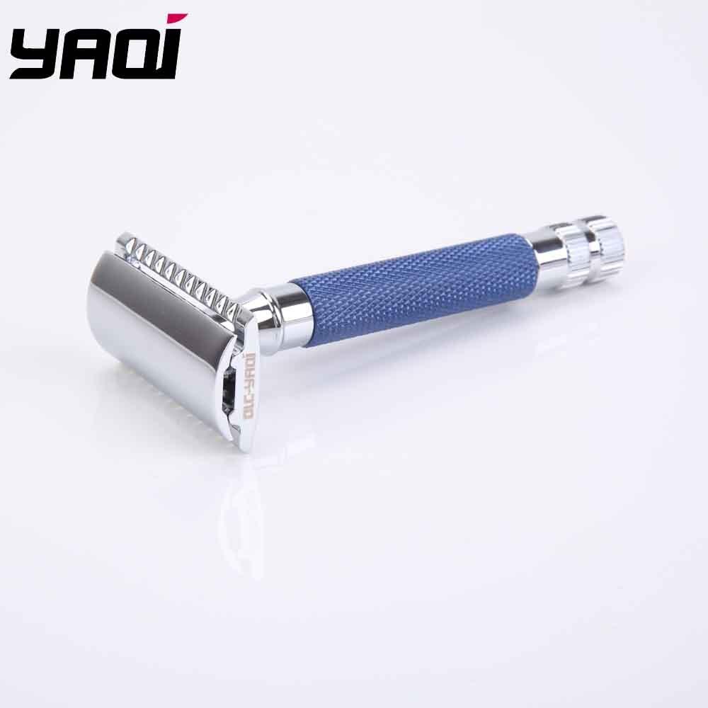 Yaqi синий цвет латунь тяжелая ручка влажная Безопасная бритва