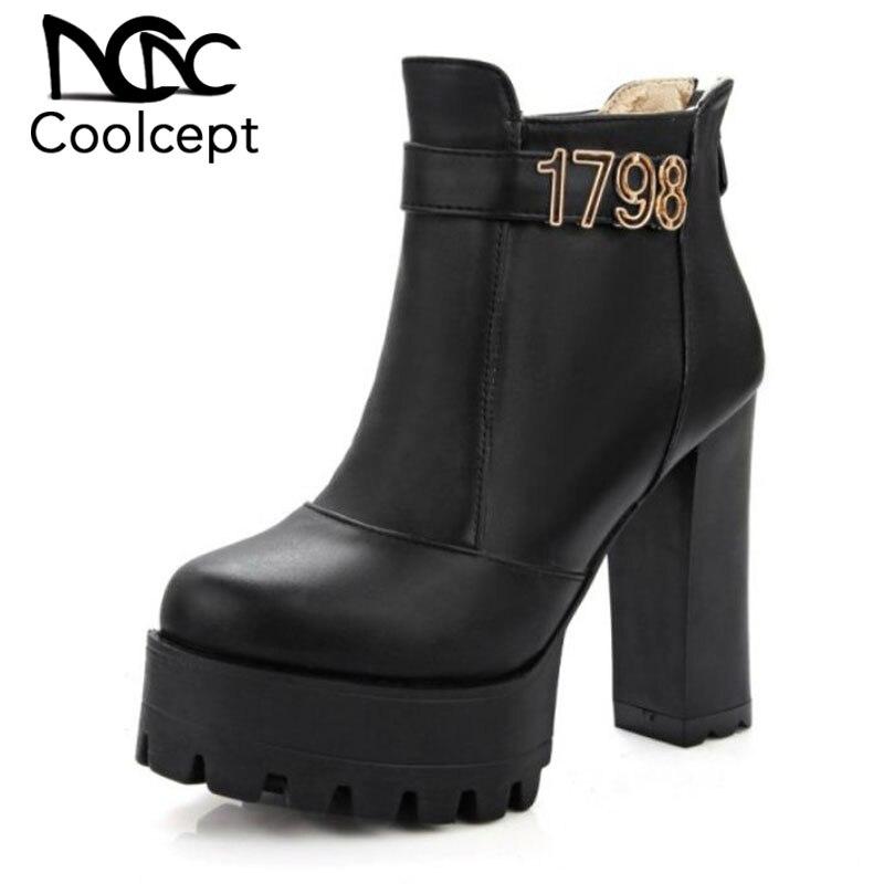 CoolCept Mode Frauen High Heel Stiefel Knöchel Plattform Warme Winter Schuhe Dicke Heek Stiefeletten Sexy Frauen Schuhe Größe 32-43