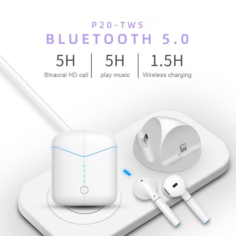 Auriculares inalámbricos P20TWS Bluetooth 5,0 auriculares mini i7s auriculares con micrófono estéreo auriculares Ture auriculares dobles para smart