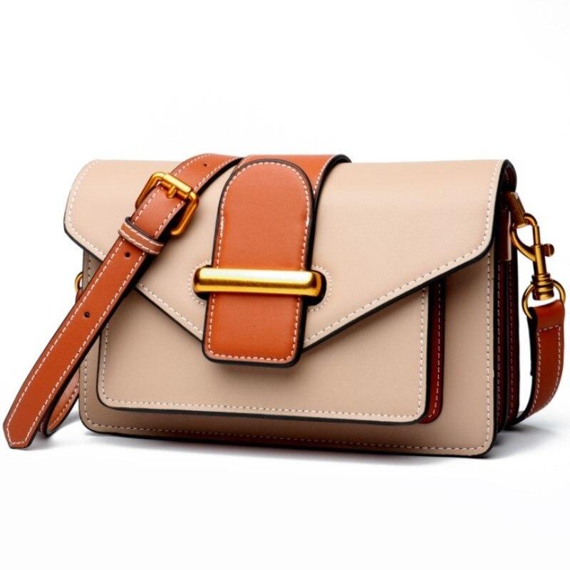 Bolso de mano de cuero genuino con solapa para mujer, caja de Bolsos de hombro de cuero de vaca suave, bolsa de mensajero para cartero, diseñador de órgano Retro para mujer