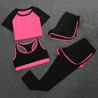 4pcs new yoga clothes suit fitness womens running fast dry leisure sportswear lady yoga clothes suit running training workout