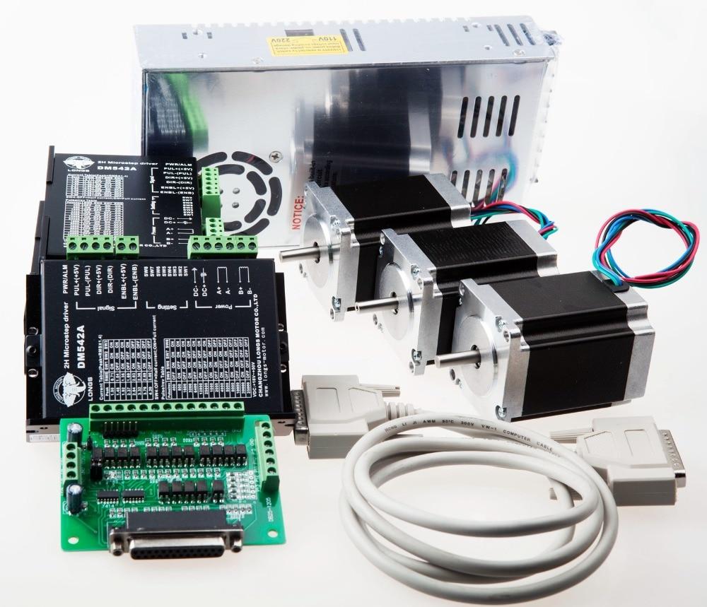 UE envío gratis Motor paso a paso 3 ejes Nema 23 270 oz. En 3A 23HS8430 controlador DM542A 350 W/36 V grabado CNC
