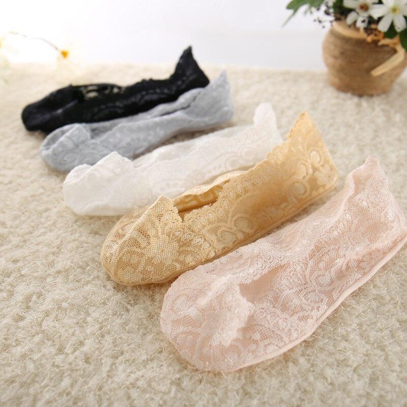 5 pares de calcetines finos de moda de verano para mujeres y niñas calcetines cortos antideslizantes de encaje de flores medias invisibles de tobillo antideslizantes 2019 nuevo