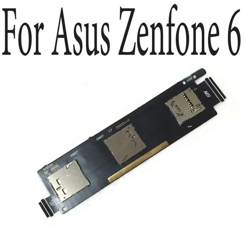 Venta caliente ranura para tarjeta Sim Socket titular lector Flex Cable para ASUS ZenFone 6 A600CG Sim ranura de conector Flex Cable
