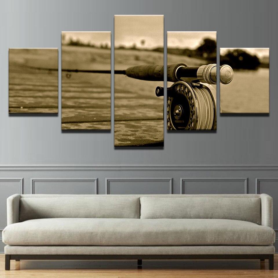 Cuadros de lienzo de arte de pared marco mosca Rod Decoración Para sala de estar Poster paisaje 5 piezas mosca pesca Poster Modular Retro imágenes