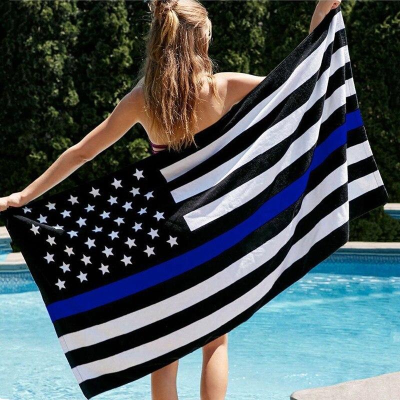 Toalla de playa bandera Estados Unidos línea azul blanco negro a la moda estrella americana microfibra-tira bandera toalla patriótica Estados Unidos hombres mujeres 35X75 70X140