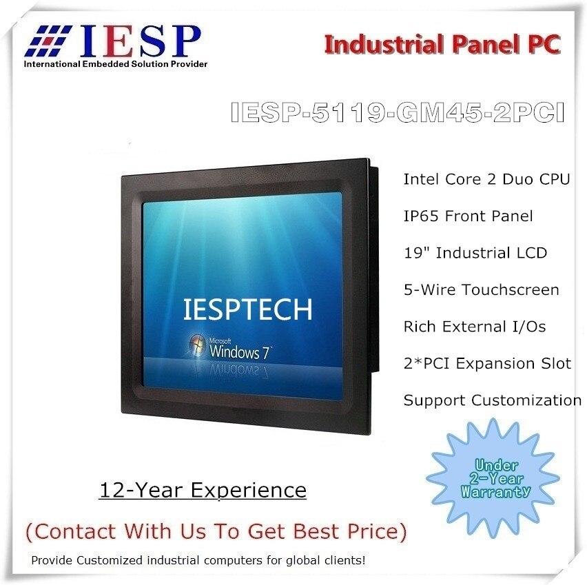 19 polegada industrial touchscreen painel pc, com 2 * ranhuras de expansão pci, núcleo 2 duo processador, 4 gb ram, 120 gb ssd, 2 glan, 6 * com