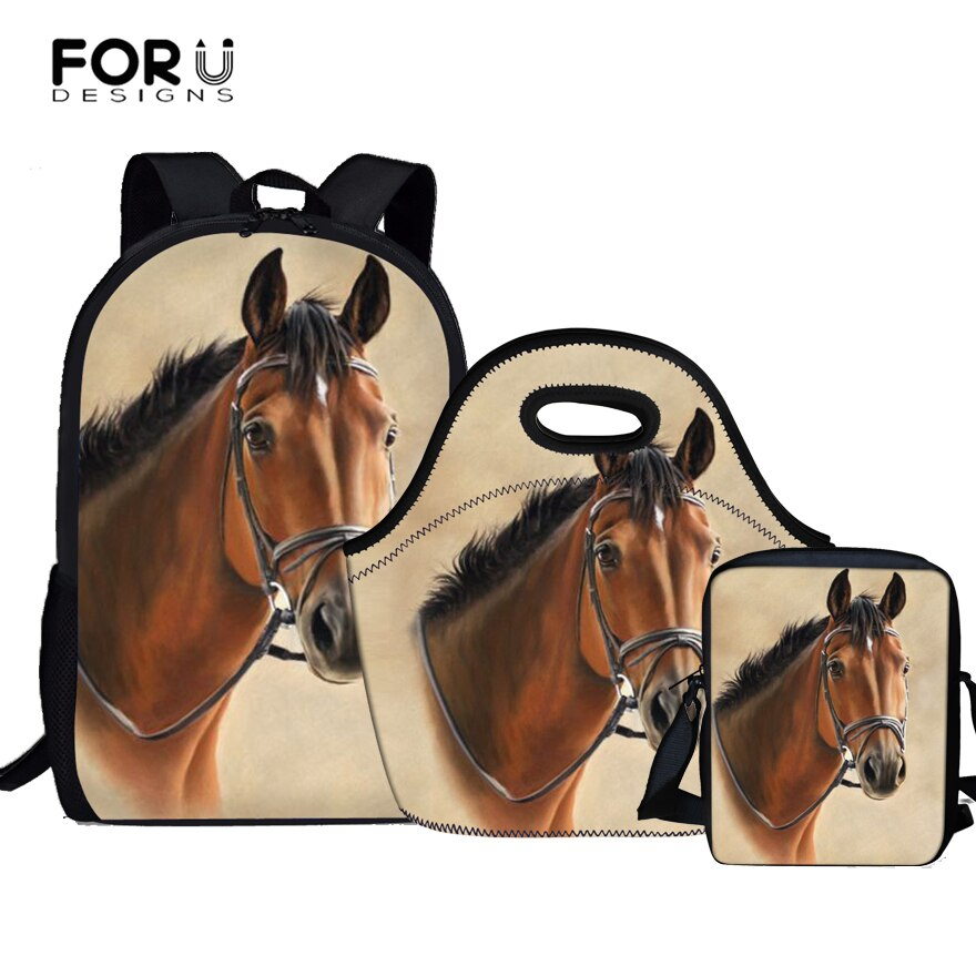 FORUDESIGNS Horse Satchel School Bags 3 Set /pcs Orthopedic Backpacks for Children Schoolbag Girls mochilas Escolares