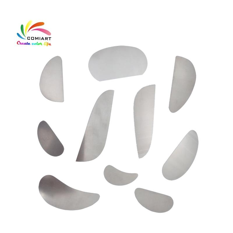Raspador de aço de argila e polímero, raspador de argila, ferramentas de vaso, cortador de aço, ferramentas de cerâmica, raspador serrado de aço, com 10 peças