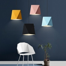 Nodic Simple Droplight Iron Polygon Diamond Geometric Shape Pendant Lamp Ceiling Macaron Box Hanging Lamps For Dining Room