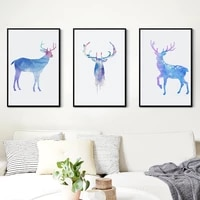 modern minimalist art animal poster watercolor blue deer canvas painting home wall art decoration wall stickers can be customize