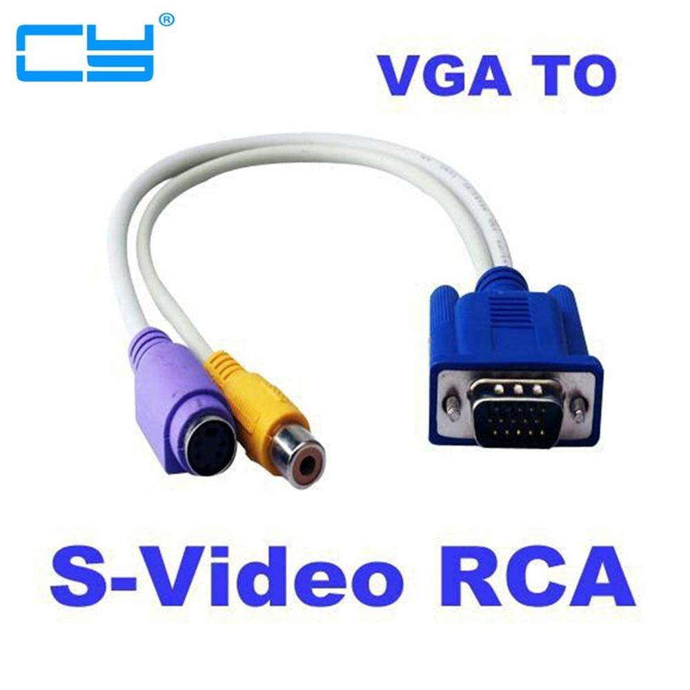 Adaptador VGA para vídeo RCA S, convertidor de 15 pines AV, compuesto, 30 cm, 1 pie, 5 unidades