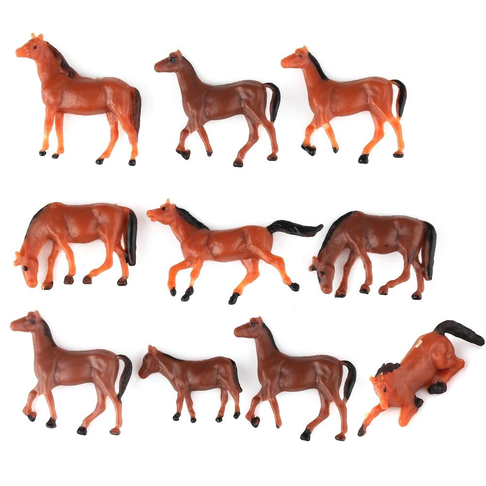 10x HO escala modelo tren construcción diseño animal pintado figuras 1/87 gauge Horse nuevo