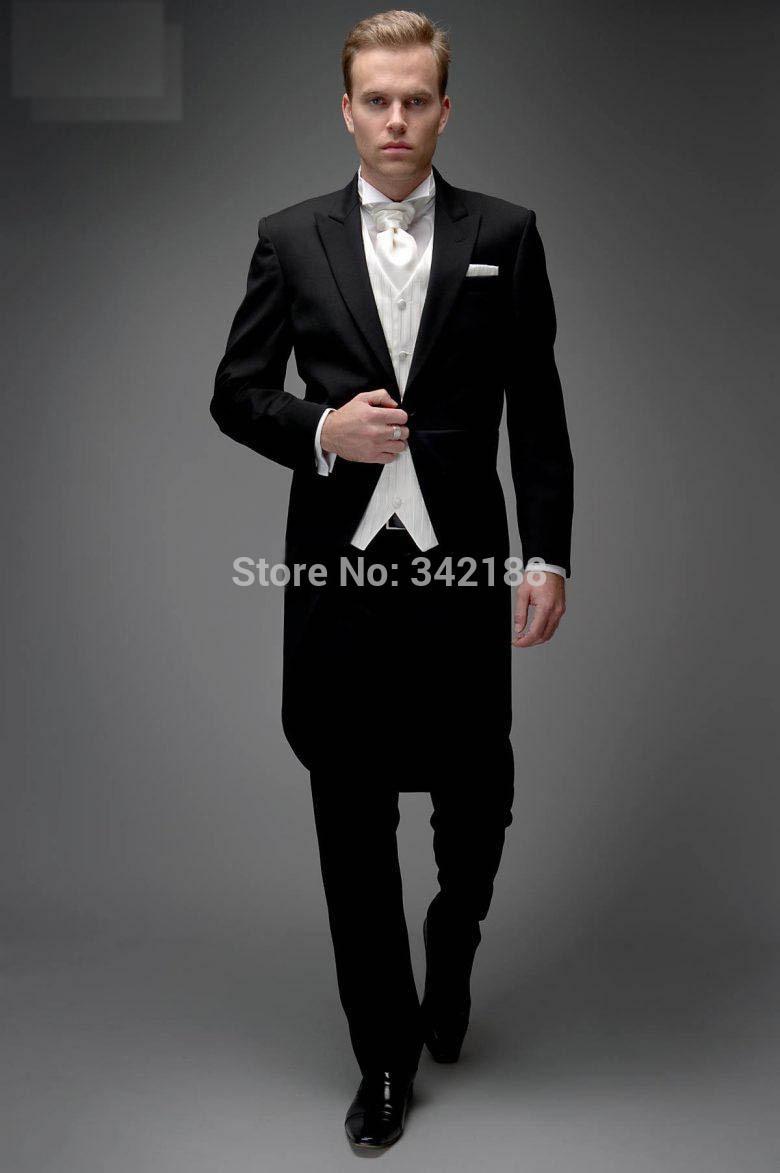 بدلات زفاف للرجال, بدلات زفاف للرجال (جاكيت + سروال + سترة + عقدة) سوفتوير أسود بنمط صباحي