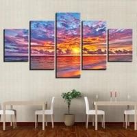 unframed hd wall painting art modular poster printed modern canvas 5 panel sunset seaside landscape living room home decor