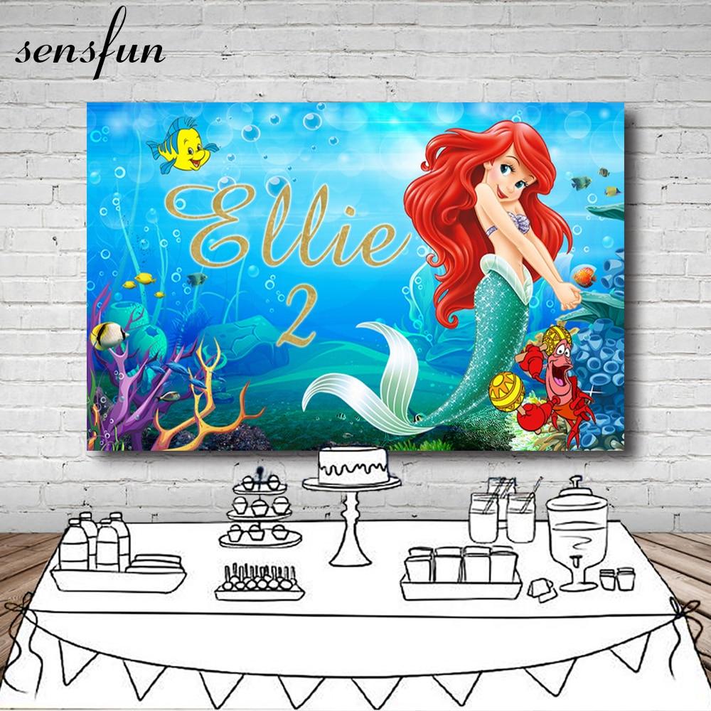 Sensfun девочка маленькая Русалочка фотография Фон пользовательское имя лет под морские рыбки пузырьки фоны для фотостудии