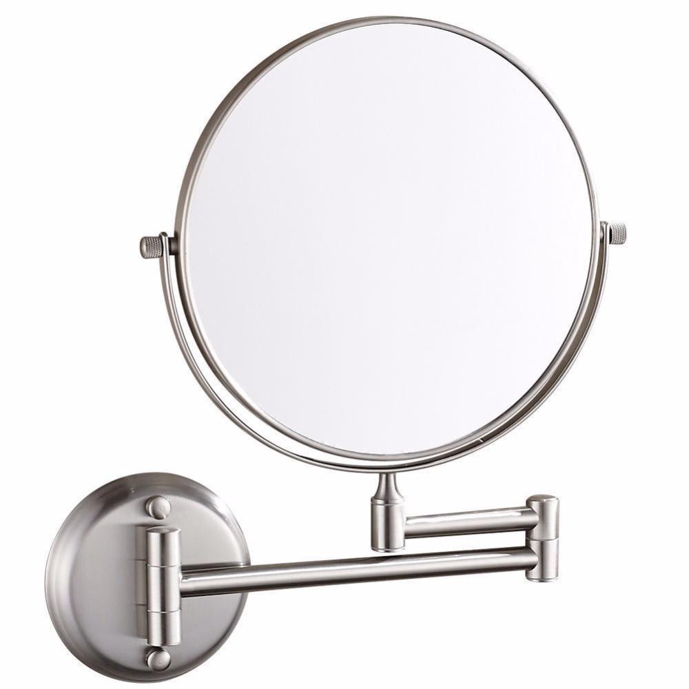 Espejo cosmético de aumento GURUN montado en la pared con aumento de 10X/1X para maquillaje o afeitado, espejos extendidos cepillados con níquel