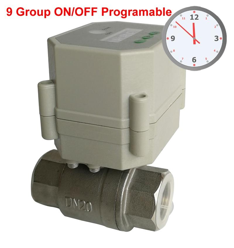 صمام تحكم آلي بمؤقت 3/4 بوصة ، 110V-240VAC ، تحكم مؤقت ، مع 9 مجموعات برمجة