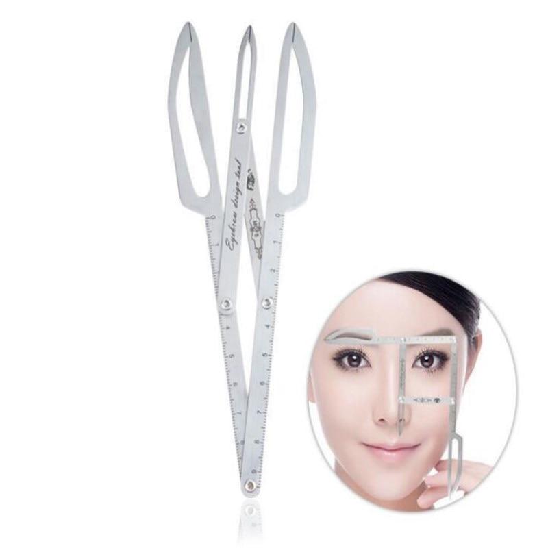 Regla de parches para cejas de acero inoxidable, plantilla de bordado DIY para cejas, posicionamiento con regla para maquillaje permanente, herramienta de medición de relación de oro