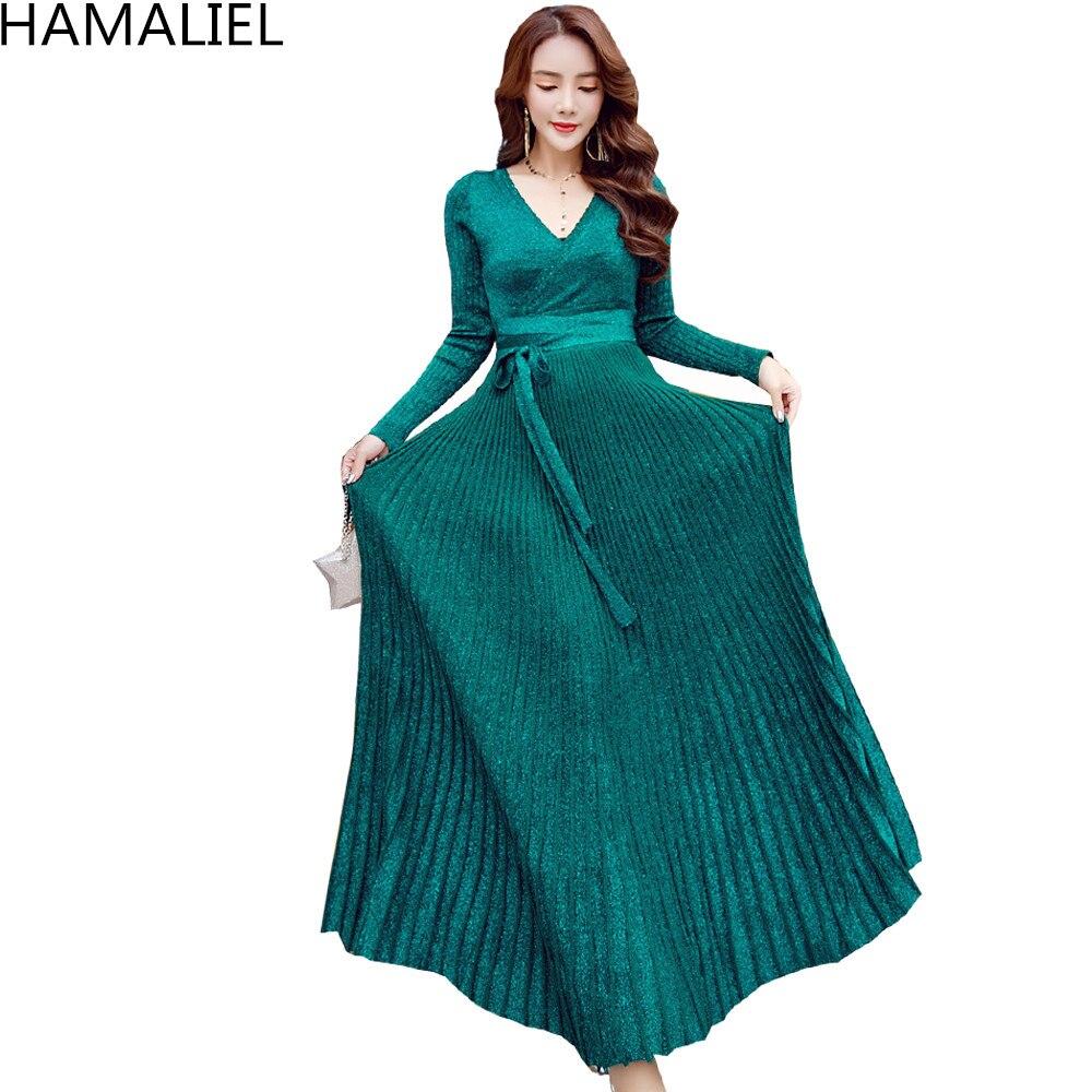 HAMALIEL, Vestido largo de punto para mujer, Otoño Invierno 2018, suéter, vestido de Moda Verde de manga larga, arco de tejer, vestidos plisados con cuello en V