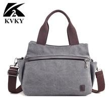 CHAUD! KVKY haute qualité toile sac femmes sac à main solide fermeture éclair conception décontracté sacs à bandoulière pour femme sac à bandoulière sacs de messager