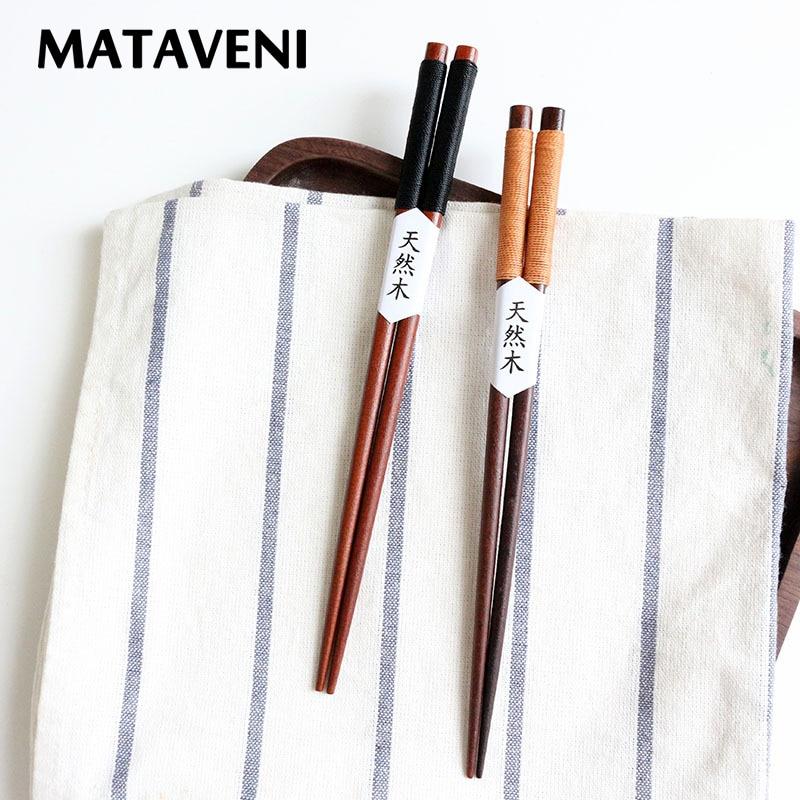 2Pairs Japanese Style Natural Wood Chopsticks Anti-slip Sushi Chopstick Tableware Set 22.5cm
