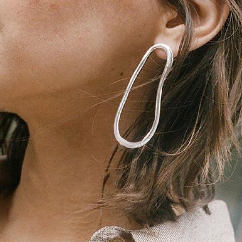 SRCOI Large Irregular Oval Geometric Stud Earrings Minimalist Gold Silver Color Alloy Long Female Earrings Wholesale Jewelry New