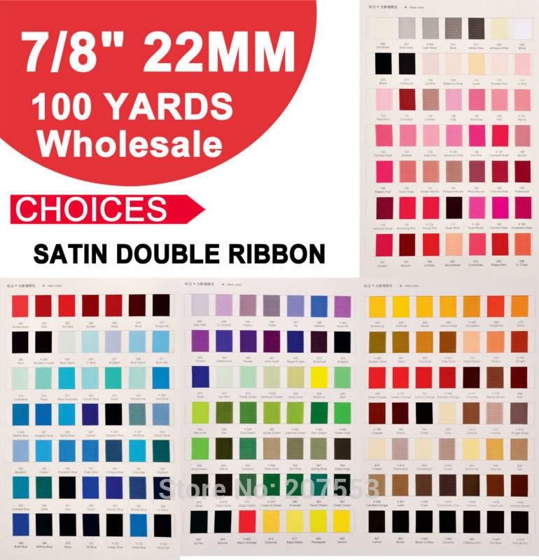 "Bonito ancho 7/8 ""(22mm) 100 yardas/rollo doble cara cinta de satén para niños DIY boda envío gratis"