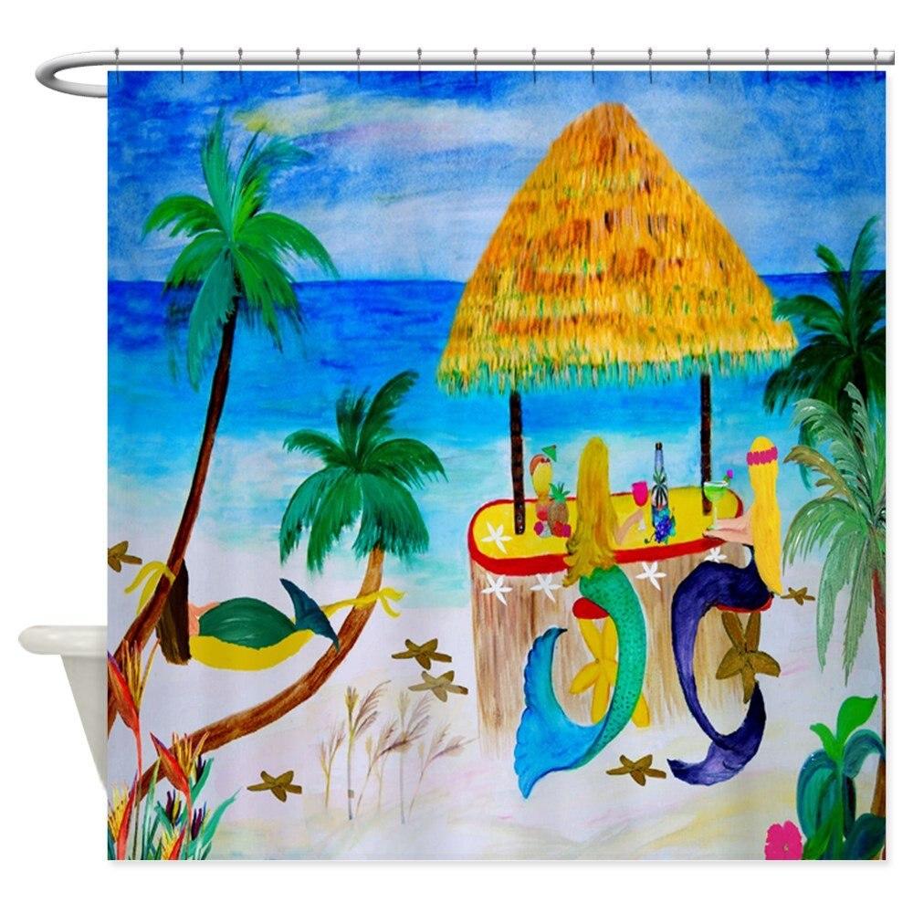 Unikalne syreny Tiki Bar zasłona prysznicowa tkanina dekoracyjna do łazienki poliester