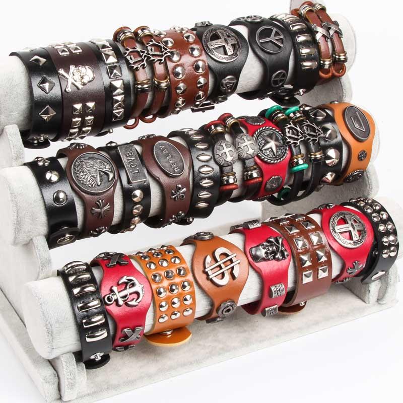 أساور جلدية عتيقة بالجملة للرجال والنساء, مجموعة من 30 قطعة ، مزينة بالسبائك النحاسية ، مجوهرات أنيقة فنتج للحفلات والمناسبات