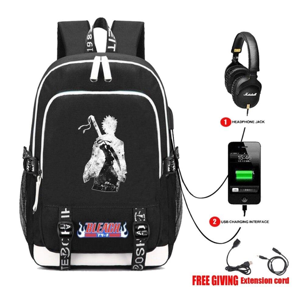 USB зарядка Многофункциональный рюкзак аниме рюкзак «Bleach» Школьный Рюкзак Школьная Сумка для мужчин и женщин Дорожная сумка 5 стилей