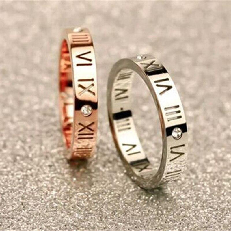 Anillos con números romanos de acero y titanio para mujer, anillos con cristales de circonia cúbica, anillos de fiesta a la moda para parejas R006