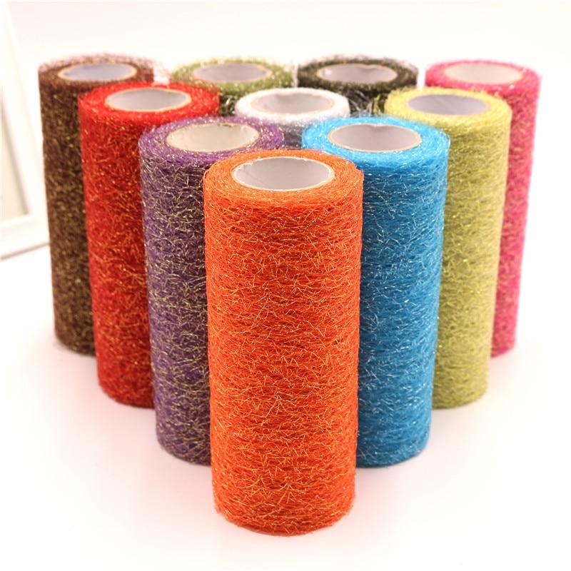 6 zoll * 10Y Tüll Rolle Gold Draht Tissue DIY Handwerk Hochzeit Party Dekoration Organza Sheer Dekorative Blume