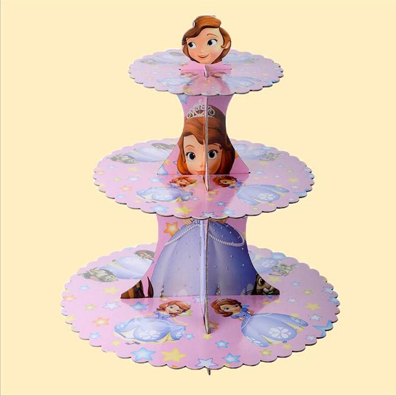 1 juego/lote de cartón para fiesta de cumpleaños, soporte de decoración para Tartas, recuerdos para niñas, decoración para Baby Shower, diseño de Princesa Sofía, soporte para cupcakes de 3 niveles