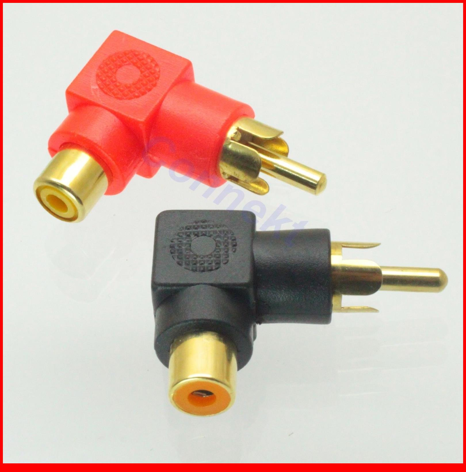50 قطعة/الوحدة X الذهب RCA ذكر التوصيل إلى RCA أنثى جاك يمين زاوية AV الصوت محول الأحمر + الأسود