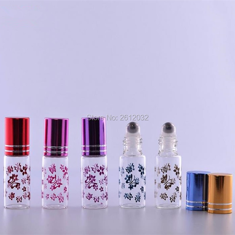 500 قطعة 5 مللي زيت طبيعي زجاجات أسطوانية مع لفة معدنية على فراشة الطباعة زجاجة عطر بالجملة F2017209