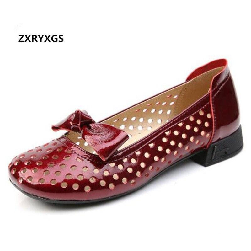 2019 new summer cowhide patent leather shoes woman sandals hole shoes shallow fashion sandals women shoes low heel shoes sandals