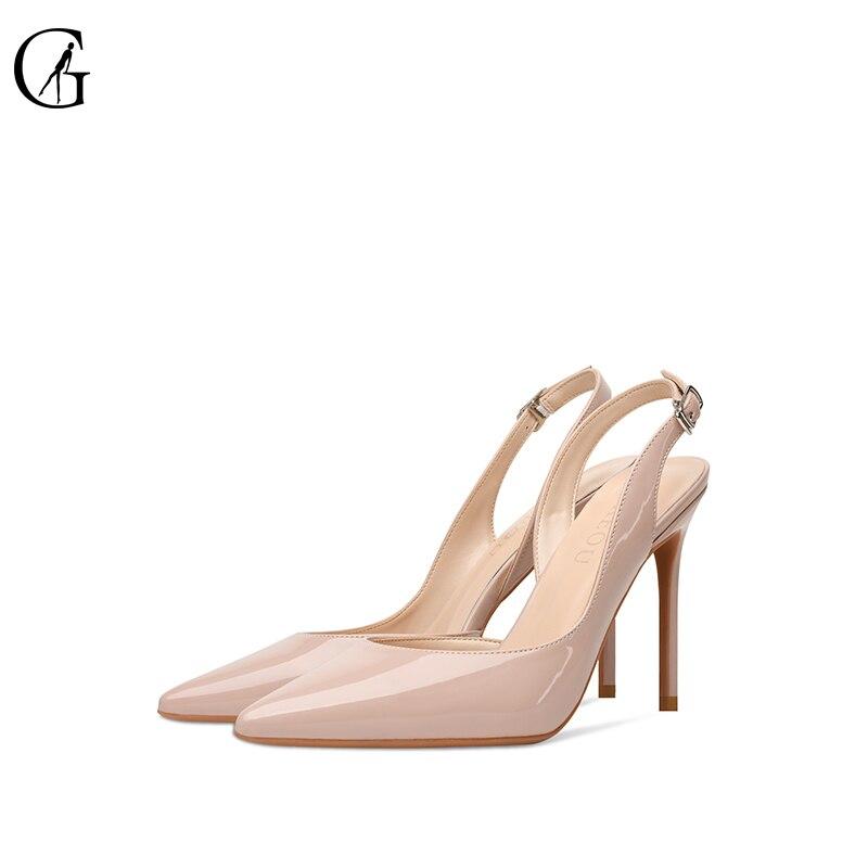 GOXEOU المرأة مضخات براءات الاختراع والجلود أحذية خفيفة الأبيض عارية الأسود وأشار اصبع القدم عالية الكعب حزب أزياء مكتب سيدة أحذية Size32-46