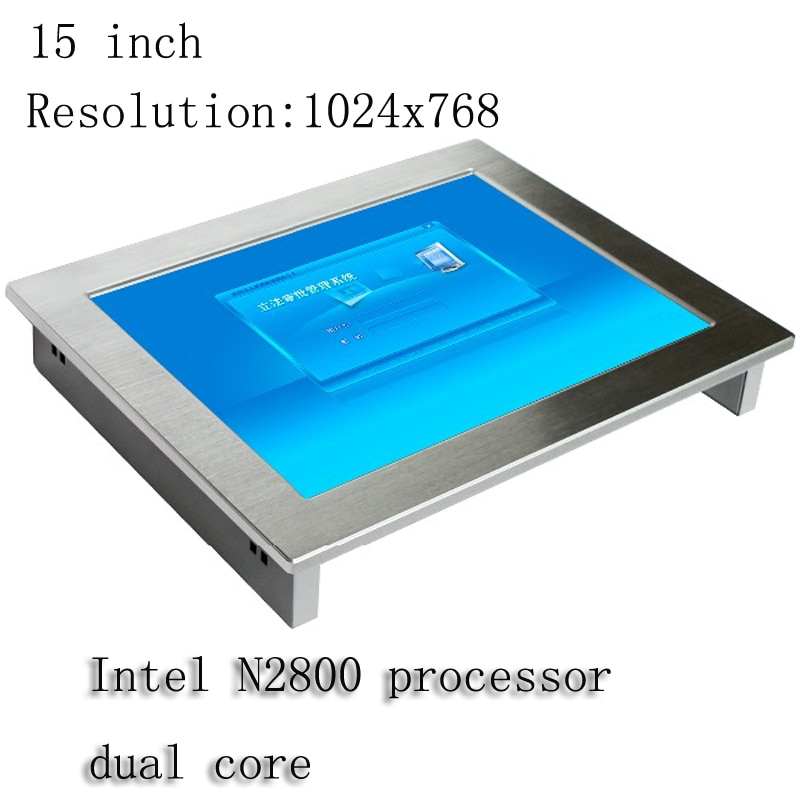 15 inch All in one pc 2*LAN Touch screen Industrial panel pc 1*VGA LCD display Fanless IP65 waterproof monitor