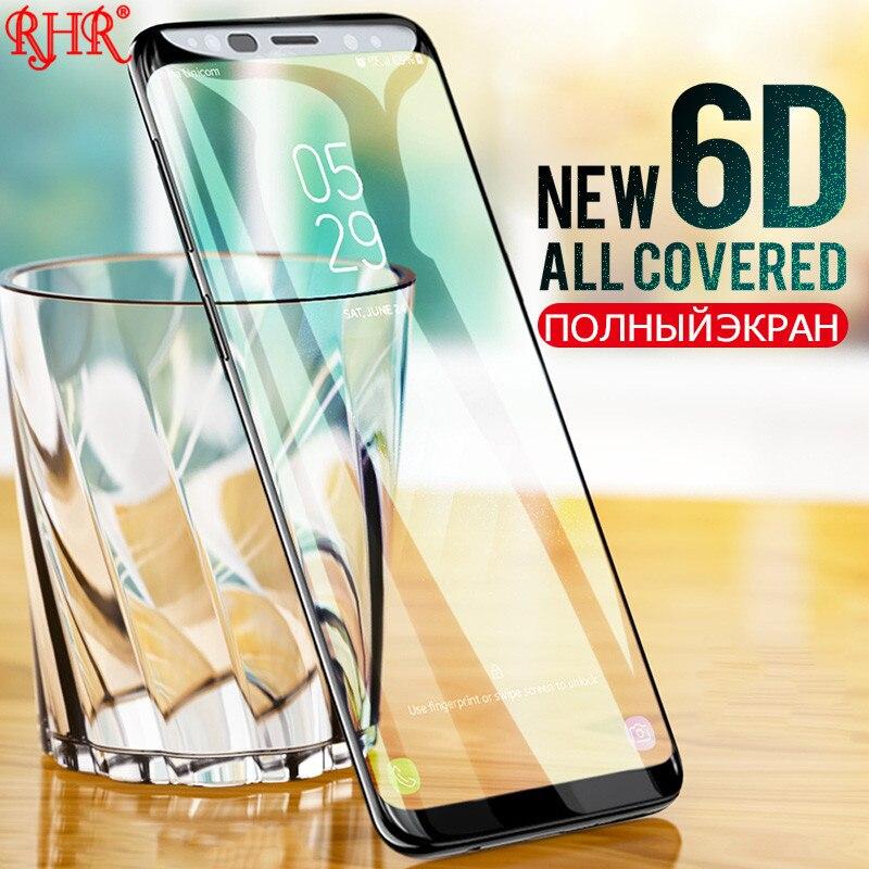 RHR 6D plein bord incurvé verre trempé pour Samsung Galaxy Note9 Note8 protecteur décran pour Samsung S8 S9 Plus S6 S7 bord verre
