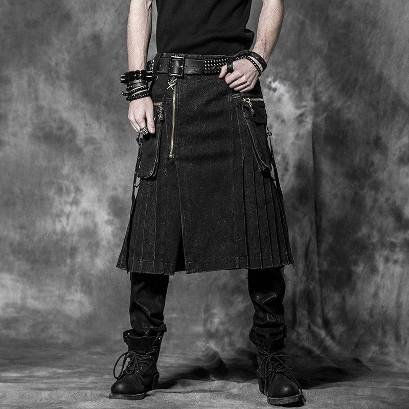 الرجال تنورة حزام منقوشة مطوي تنورة ثنائية جيب سلسلة تنورة البني القوطية الشرير الاسكتلندي تنورة مجموعة جيوب مزدوجة