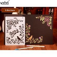 Kuş Çiçek Dantel Içi Boş Plastik Pochoir Şablonlar DIY Scrapbooking Fotoğraf Albümü Dekoratif Kart Kırtasiye Zanaat Araçları Şablonlar