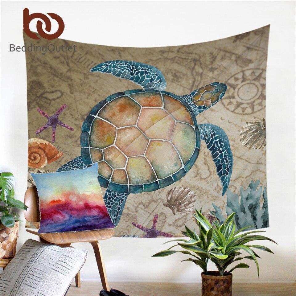 BeddingOutlet Sea Turtle Tapestry Map Tortoise Wall Hanging Nautical Starfish Wall Carpet Marine Animal Decoration 150x200cm