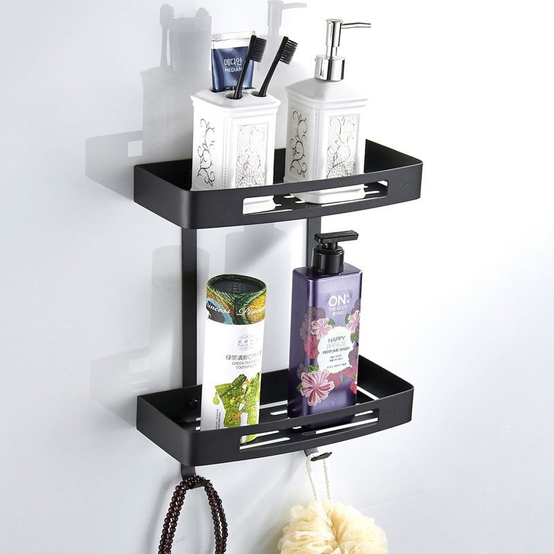 Mate negro 304 Acero inoxidable baño doble estante de esquina almacenamiento Caddy estante organizador cesta de ducha 2 capas estante flotante