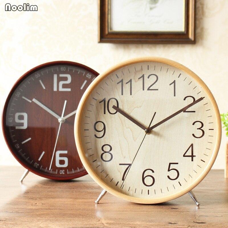 NOOLIM reloj de mesa escritorio sala de estar Simple de madera sólida reloj moderno Gran péndulo reloj creativo minimalista adornos
