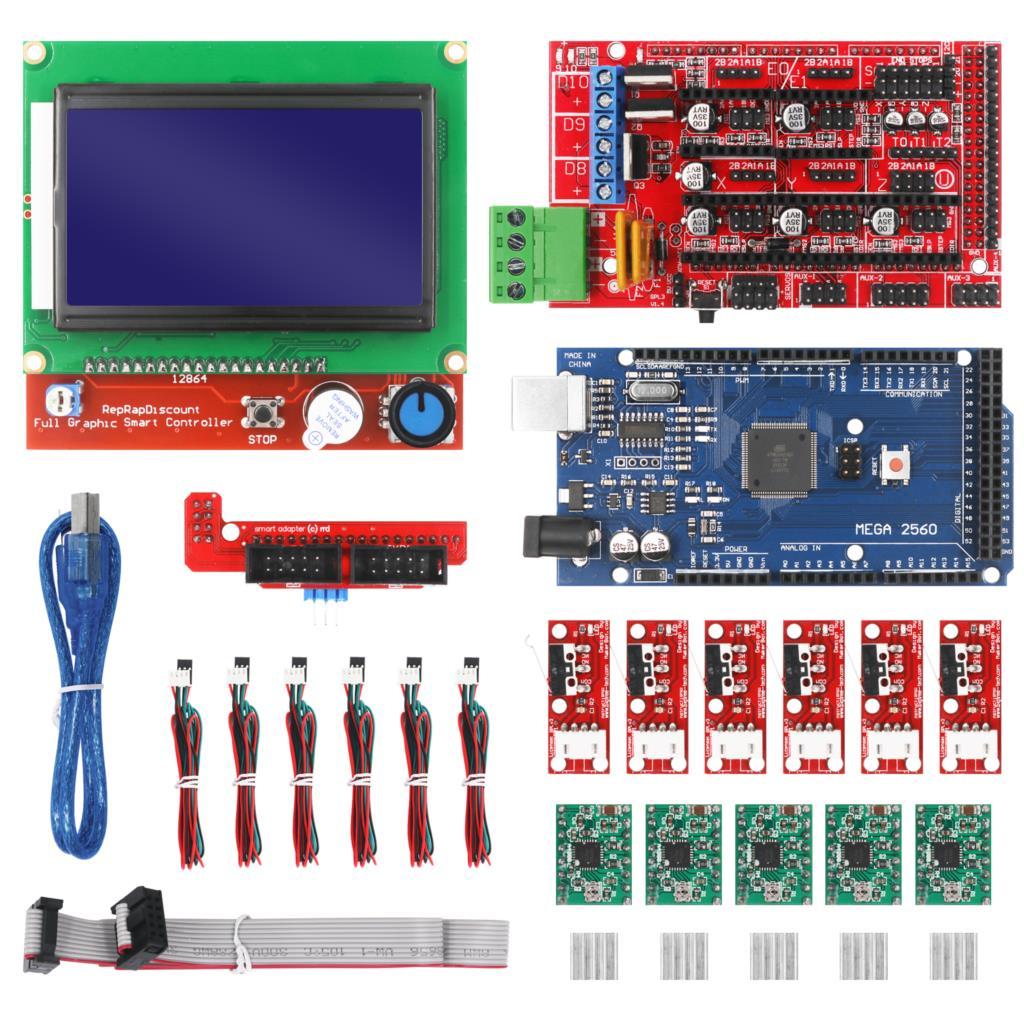Kit de impresora 3D CNC con placa Mega 2560, controlador rampas 1,4, LCD 12864, controlador paso a paso A4988 para Arduino