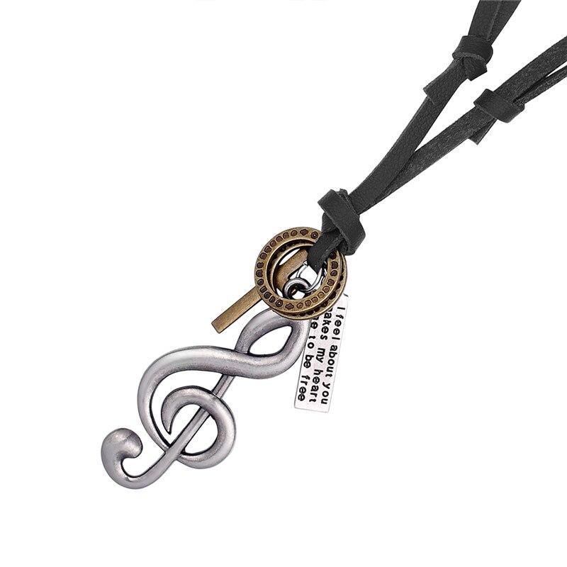 Nueva joyería Vintage Musical, collares con diseño de nota y colgantes para mujeres, collares de piel auténtica, collares para hombres, Gargantilla, collar Collier Kolye
