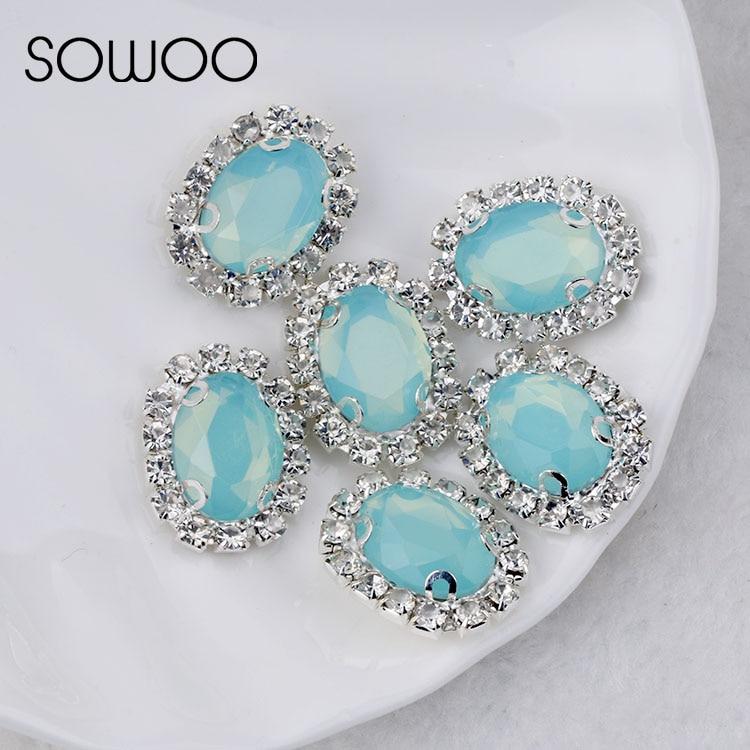 Ópalo verde formas ovaladas 10*14 estrás par coser Diamante de imitación con cristales de cristal de garra piedra para coser para decoración de ropa