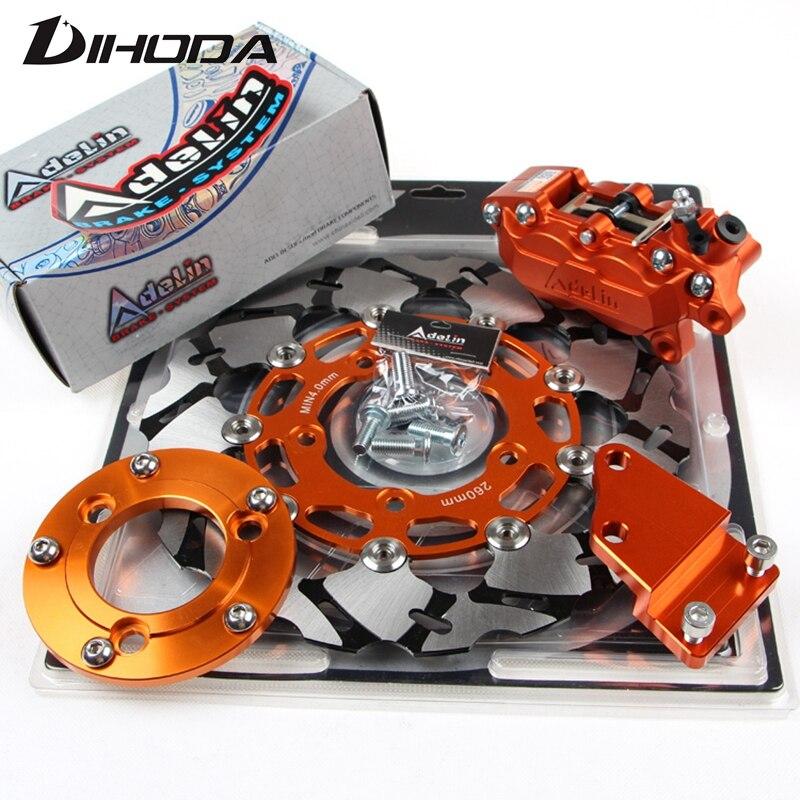 Discos de freno de motocicleta 260mm ADL pinzas de freno adaptador/soporte para el sistema de freno de horquilla plana trasera para moto Scooter moto Dirt Bike