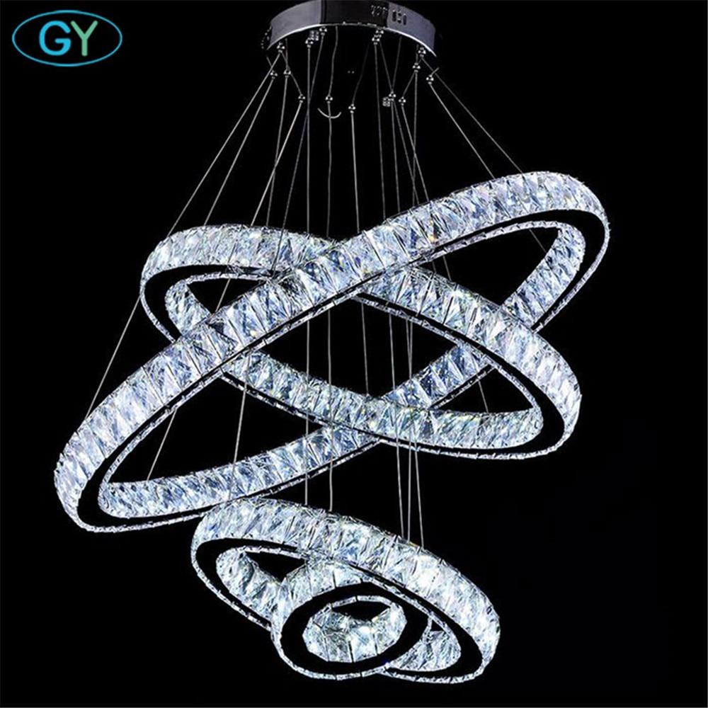 AC110-240V NEW Crystal 4 Rings led Pendant Lights  Circle lustres 87W modern home foyer DIY pendant lighting lamparas luz